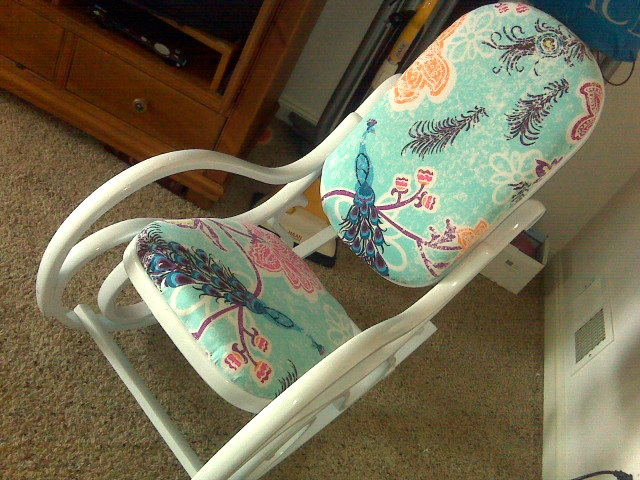 Another bentwood rocker re-do. I'm inclined to keep the original caning, though, not add fabric.