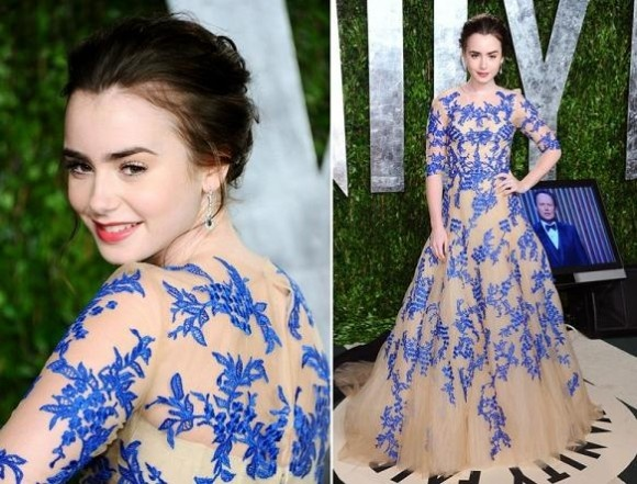 Monique Lhuillier ball gown.  (Lilly Collins)