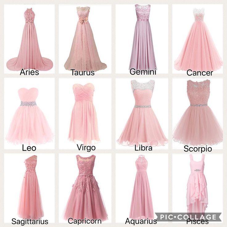 The signs as pink dresses. – – – – #zodiac #aries #taurus #gemini #cancerzodiac #leo #virgo #libra #scorpio #sagittarius #capricorn #aquarius #pisces