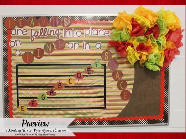 Fall Themed Music Bulletin Board {Treble Lines and Spaces} Leaves are falling…