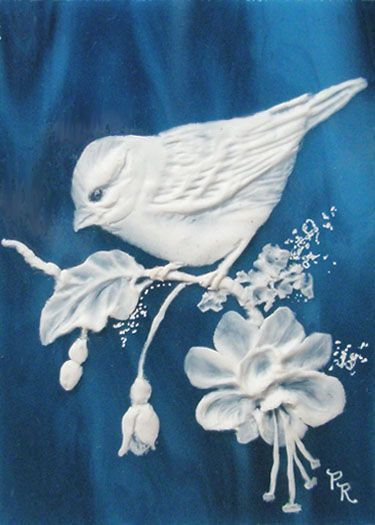 Sparrow Sculpted Cameo Stained Glass ACEO