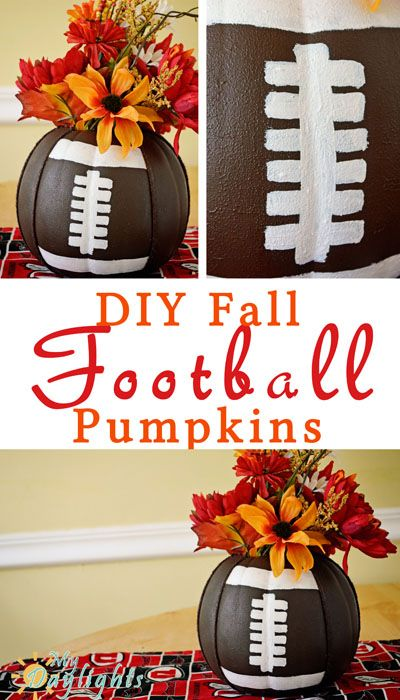 Create your own football inspired pumpkin to display your school or NFL spirit! Can be completely customized and is easy and quick to make.