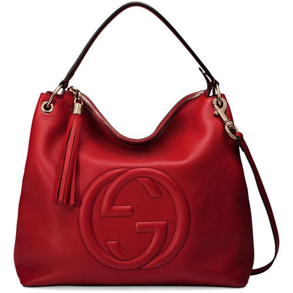 Gucci Soho Large Leather Hobo Bag ($1,980) ❤ liked on Polyvore featuring bags, handbags, shoulder bags, red, gucci purses, hobo purse, leather hobo handbags, gucci handbags and red leather handbag