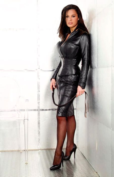 Very sexy leather outfit.  V
