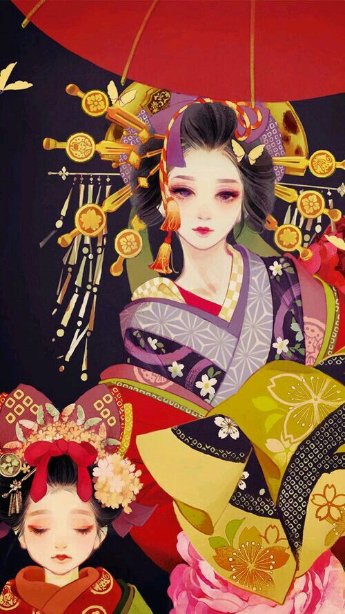Oiran and Kamuro / 花魁と禿 - Jpg.500x889 Más