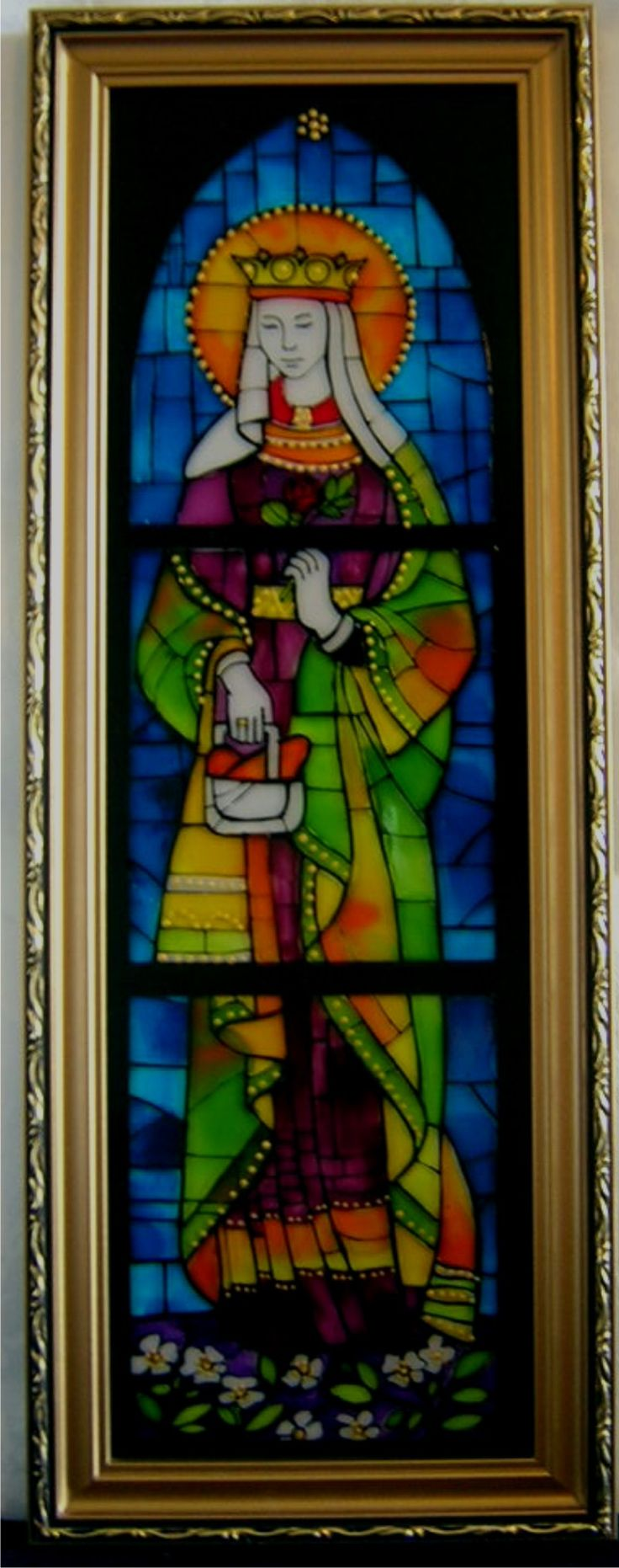 Painted glass Saint Elisabet of Hungary