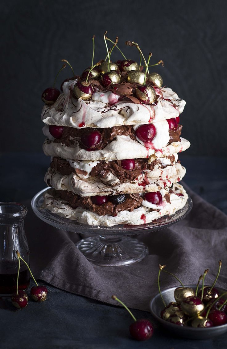 Black Forest Pavlova with Chocolate Mousse