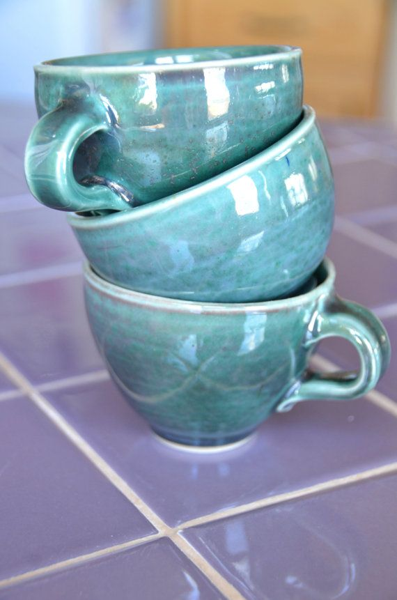 Green Tea Cup Set, Hand Thrown Porcelain Pottery, Ceramic Cups, Espresso Cups, Coffee Cups, Teal   CaldwellPottery