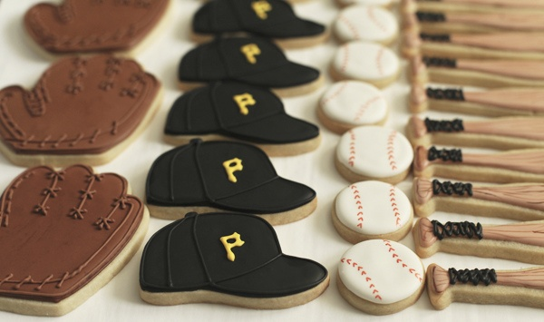 Pirates decorated baseball cookies, ball cap, baseball, glove, and bat by Ashleigh30