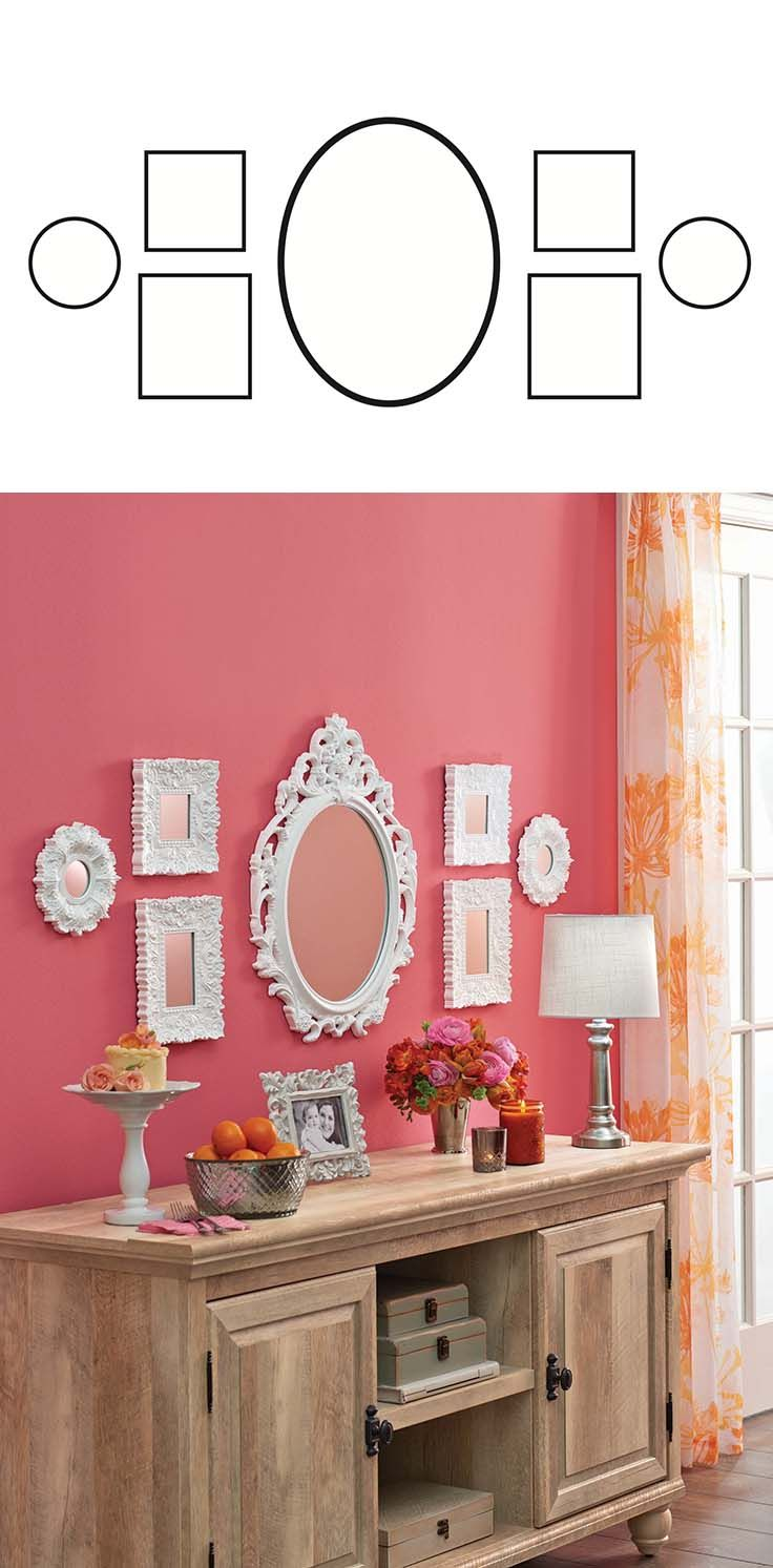 FROM OUR MAY AD IN BETTER HOMES AND GARDENS MAGAZINE - How To Create a Gallery Wall: Be creative with your space--Choose a large mirror (like our Baroque Oval Mirror) and  flank it with smaller, matching pieces, to make a DIY vanity wall fit for a princess  Download & print this image to get started!