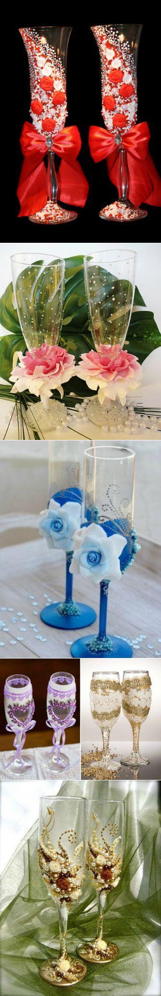 Декор свадебных бокалов,бокалы,свадьба