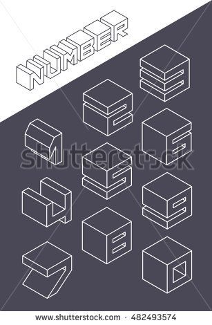 Set of the isometric numbers. Vector illustration in line style