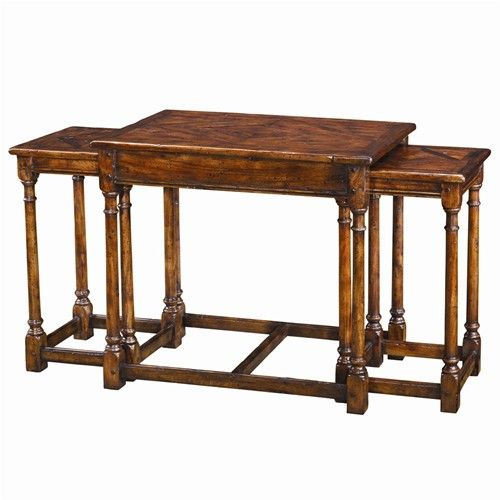 Tables 3 Antiqued Wood Parquetry Tables By Theodore Alexander