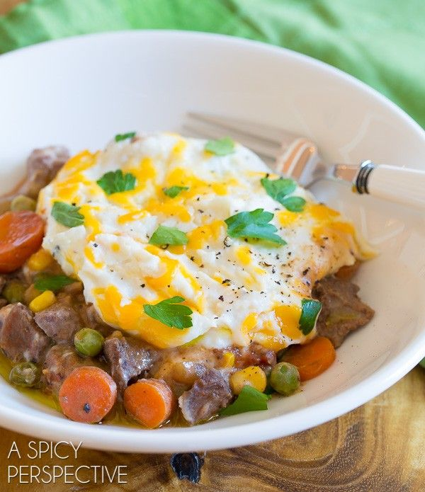 """Easy Slow Cooker Shepherds Pie Recipe! This savory Shepherd's Pie Recipe allows you to """"set and forget dinner"""" while you are at work. Come home to aromatic"""