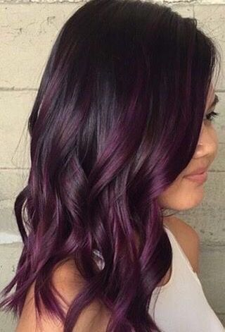 Image result for dark brown hair with burgundy highlights