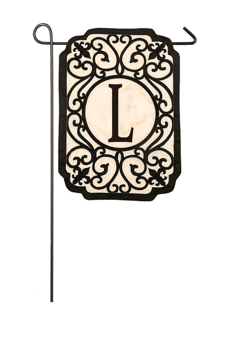 Filigree Monogram L Applique Garden Flag