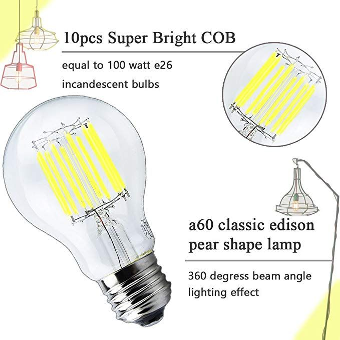 Luxvista Dimmable A19 Led Bulb 100w Incandescent Replacement Filament Light Bulbs 10 Wat Filament Bulb Lighting Vintage Led Bulbs Clear Glass Lamps