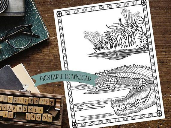 Coloring Page - Crocodile in the Water // INSTANT DOWNLOAD // Manifestation and Meditation Colouring Page