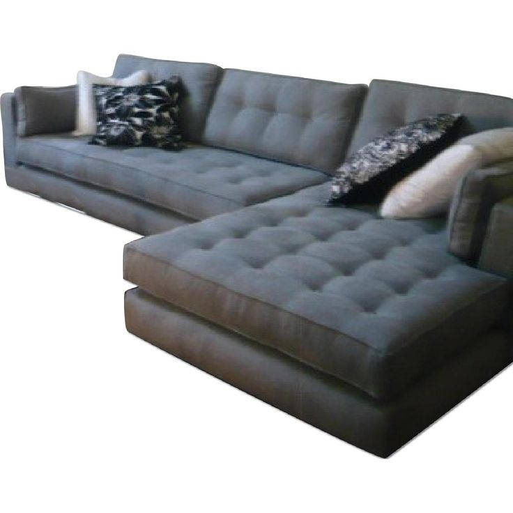 light grey microsuede l shaped tufted sectional sofa from la design showroom