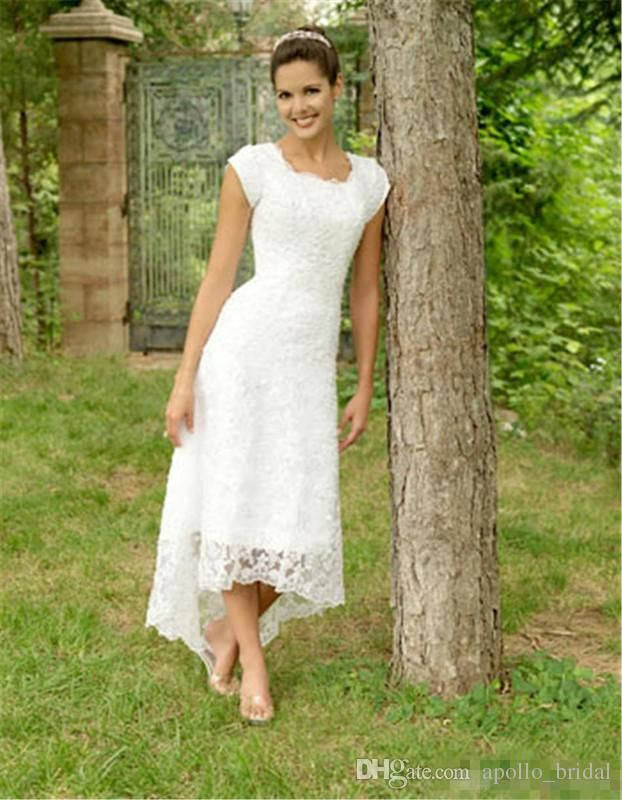 2018 Full Lace Beach Wedding Dresses A Line Jewel Short Sleeves High Low Bridal Gowns Pl Wedding Dresses High Low Casual Wedding Dress Tea Length Wedding Dress,Stylish Best Indian Wedding Dresses For Girls