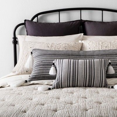 Twin Comforter Set Simple Stripe with Stitch Embroidery - Hearth & Hand with Magnolia, Gray