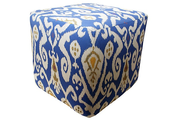 Ikat Outdoor Pouf, Blue