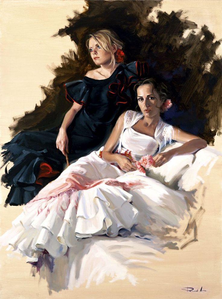 Ricardo Sanz – Vestidas de flamencas Óleo sobre lienzo. 130×97 cms.