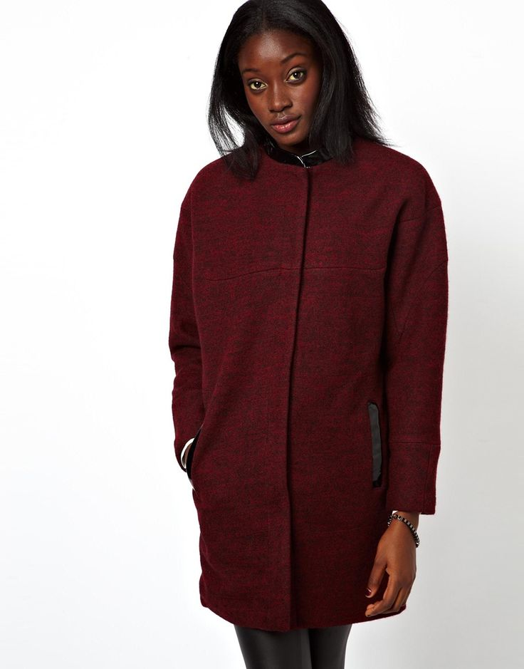 Don't want to be just another black coat in the crowd? The ASOS Patent Trim Cocoon Coat with sporty PU trim could be for you.