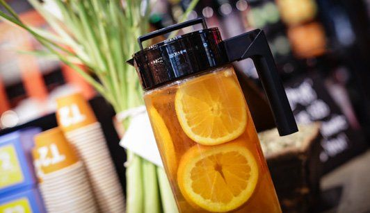 Citrus Blast Blast off mixing all the orange and lemony bits with a peppery peek of Lemongrass. Brew Lemongrass and Citrus Sensation concentrate 1:1, add some honey to give a smooth sweet edge garnish with lots of ice, fresh lemongrass and slices of lemon.