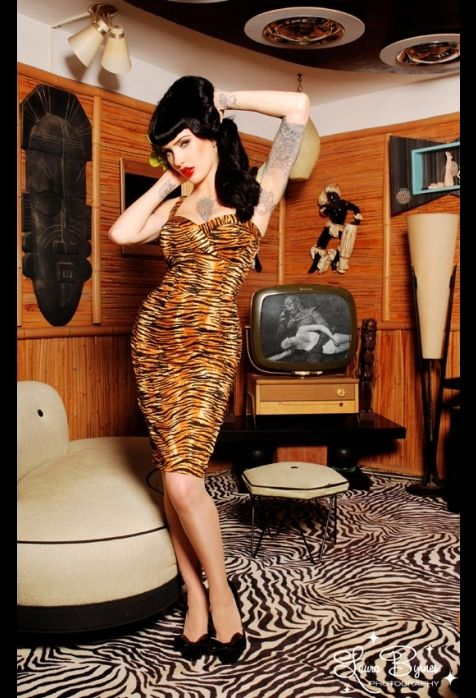 Micheline Pitt - impossibly gorgeous.  The Vamp Dress in Tiger Print by Deadly Dames