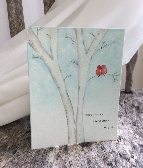 Hand-painted Christmas card for Husband Wife by TheLittleCardCo