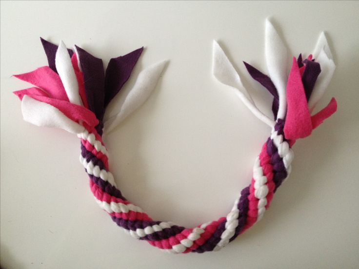 DIY fleece dog toy. Made a round tug rope with 3 colours.