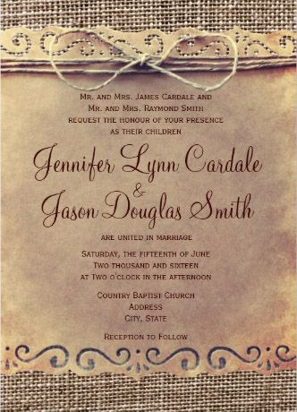 Vintage wedding invitations. Beautiful lace rustic wedding invitations. Perfect for country weddings, tie the knot!