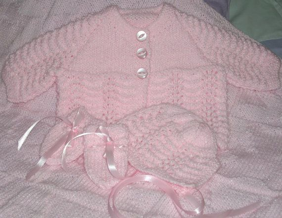 Girls Sparkly Pink Matinee set with by TheKnittingNannieGB on Etsy