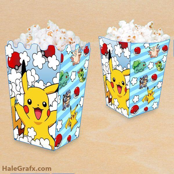 FREE printable Pokemon Pikachu popcorn boxes