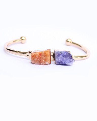 Druzy Colorful Natural Stone Bracelet Cuff . - foxandcrab  - 1