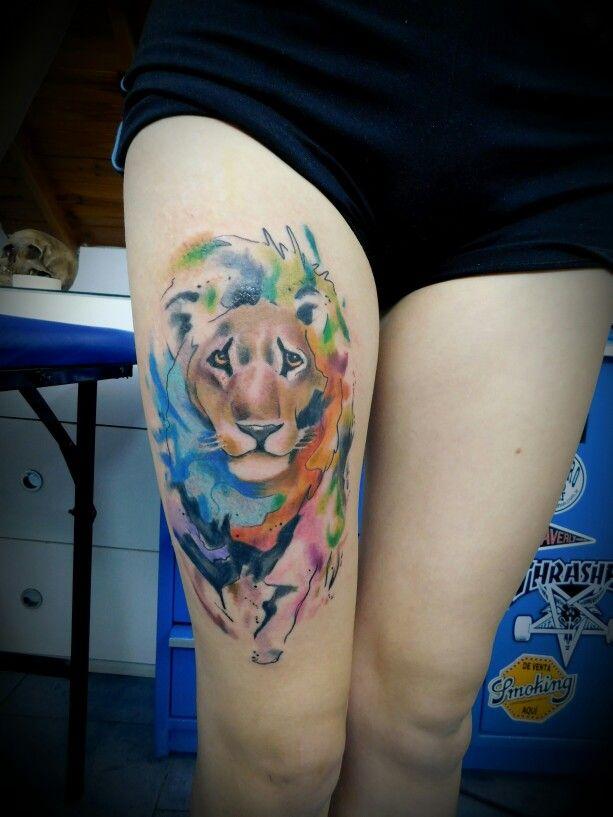 León acuarella #leon #acuarella #pierna