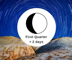 Moon Phase First Quarter + 2 days Lunar Cycle Today