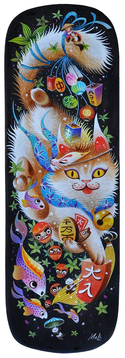 """This artwork by Filipino artist May Ann Licudine a.k.a. ""Mall"" is simply amazing. There is so much going on, and the details are fantastic. While not in the traditional maneki neko pose, the cat dons the traditional collar and bell and is also holding a gold coin. I just love how happy he looks, and I love all of the Japanese elements, especially the daruma dolls and pandas."""