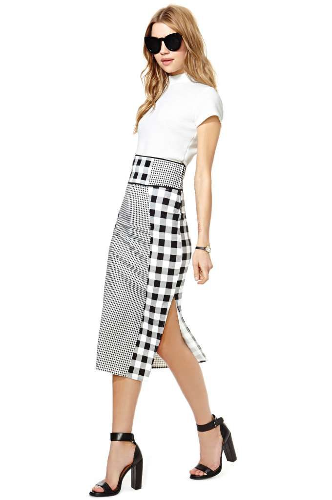 Nasty Gal In Check Pencil Skirt