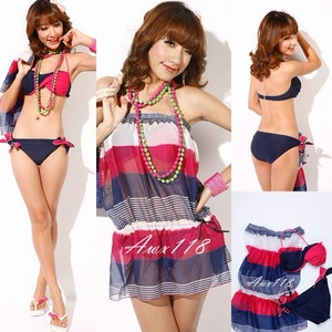 New Sexy Multi Color Stripes Bikini Set Cover Up Dress Swimsuit Bathing Suit 3pc | eBay