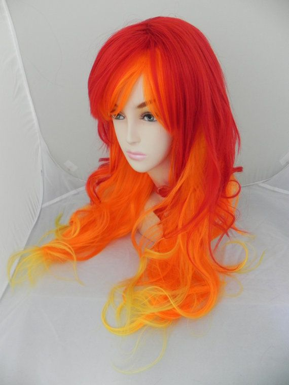 This would look awesome on blonde hair and the red orange and yellow on just the ends. Ombré effect :)
