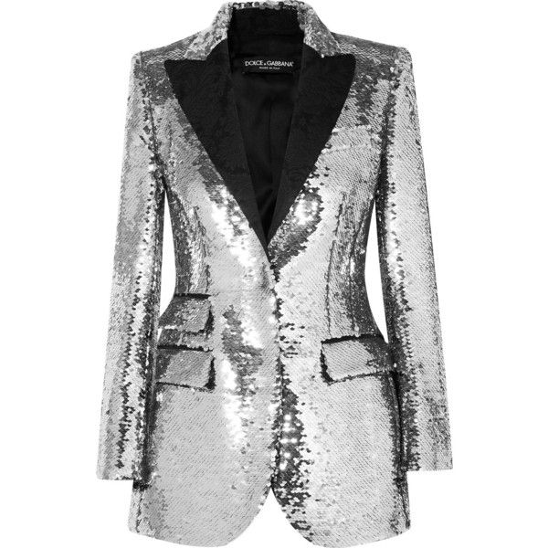 Dolce & Gabbana Sequined crepe blazer ($4,175) ❤ liked on Polyvore featuring outerwear, jackets, blazers, blazer, silver, sequin evening jacket, tuxedo blazer, dinner jacket, evening jackets and tuxedo jackets