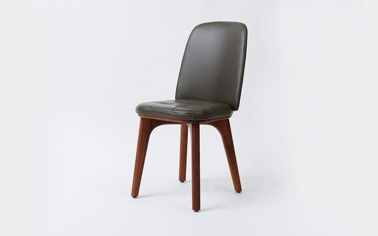 Utility Highback Chair | Stellar Works | Designed by Neri&Hu | Code: UT-S220 Materials: Solid wood legs, Steel brass finish, Leather upholstery Dimensions: W421 x D523 x H861mm Seating height: 466mm