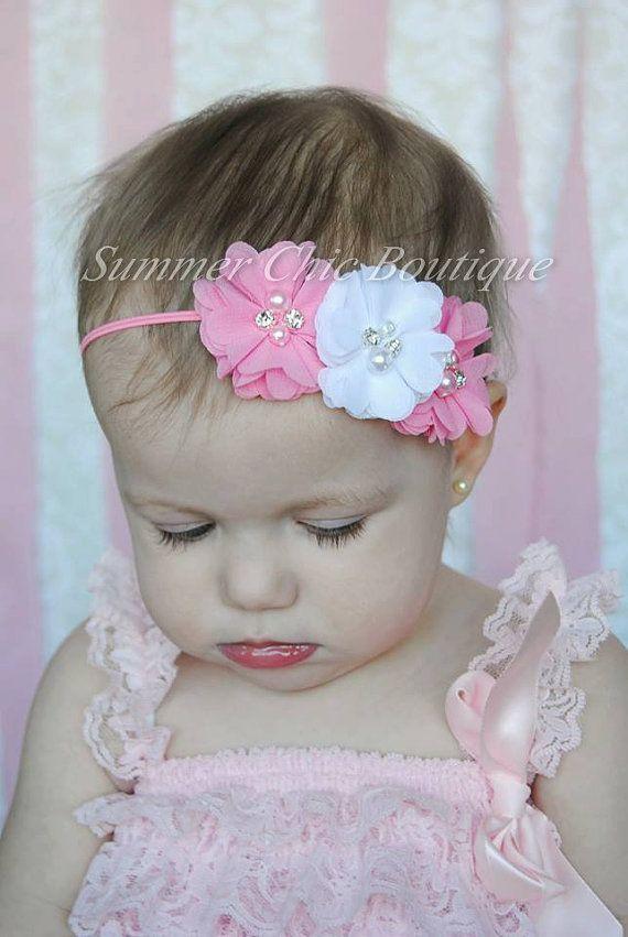 Venda, venda del bebé, diadema para bebé, recién nacido diadema - diadema de color rosa y blanco Gasa y venda de flor de perlas
