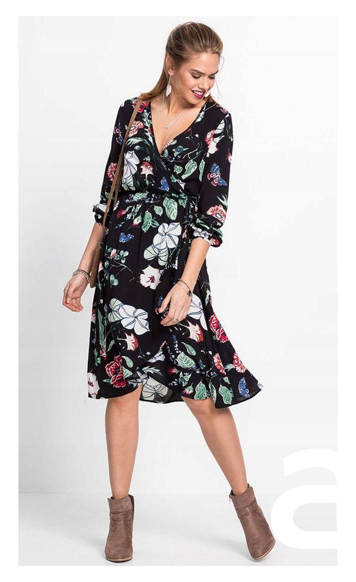 Moda Damska Sukienka W Kwiatki Elegancka Sukienka Stylizacja Sukienka Nad Kolano Dresses Casual Dress Long Sleeve Dress