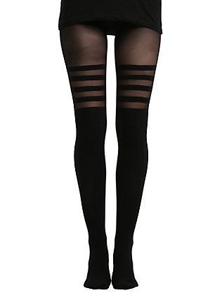 Black Stripes Faux Thigh High Tights, BLACK