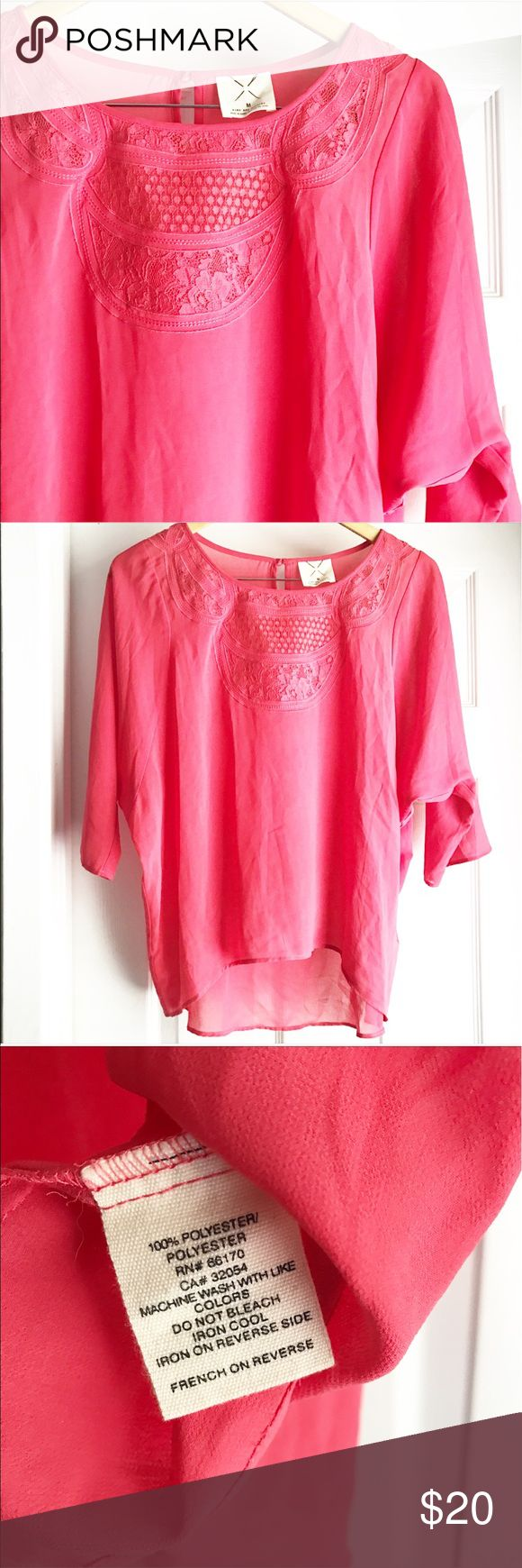 Pins & Needles Pink Flowy Lace Detail Blouse Such a pretty and flowy piece! So feminine! Gorgeous lace detailing around the collar, and slight batwing style sleeves. Perfect for warmer months or layering in the cooler ones. Little keyhole at back with button neck closure. EUC - tiniest of pulls near bottom hem that isn't really visible unless inspecting! Urban Outfitters Tops Blouses