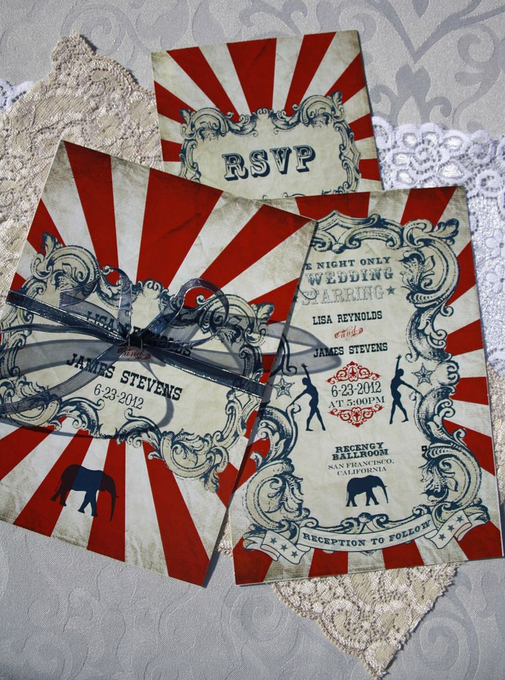 Vintage Carnival Wedding Invitation & Response Card (Gorgeous Circus Invite Printable) Red, Blue and White. $34.50, via Etsy.