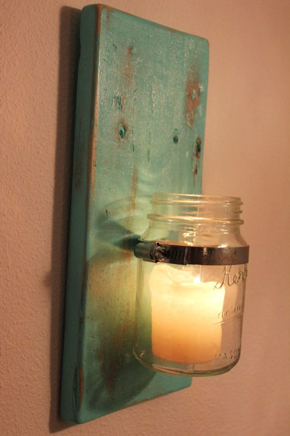 Reclaimed Wood Sconce Vase Mason Jar by MissMacie on Etsy, $25.00
